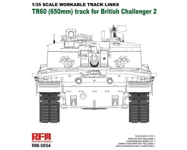 Rye Field Model 5054 TR60 Workable Track Links for Challenger 2 1/35