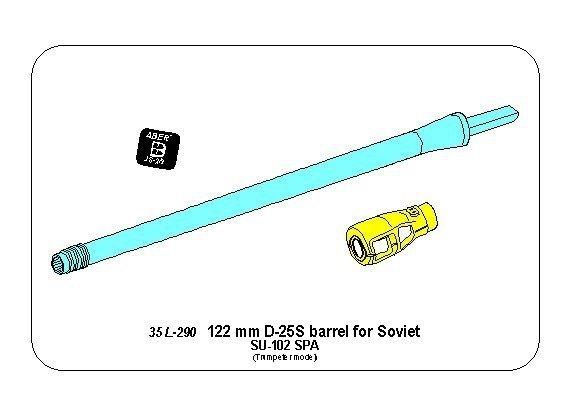 Aber 35L-290 Lufa 122mm D-25S do rosyjskiego działa SU-102 (Trumpeter) 1/35