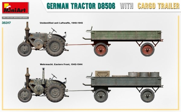 MiniArt 35317 GERMAN TRACTOR D8506 WITH CARGO TRAILER 1/35
