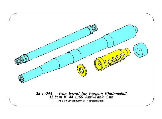Aber 35L-244 Gun barrel for German Rheinmetall 12,8cm K 44 L/55 Anti-Tank Gun 1/35