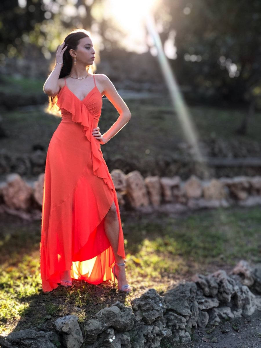 Vestiti Lunghi Eleganti Shop Online.Vestito Lungo Elegante Pesca Abiti Da Cerimonia Donna Shop