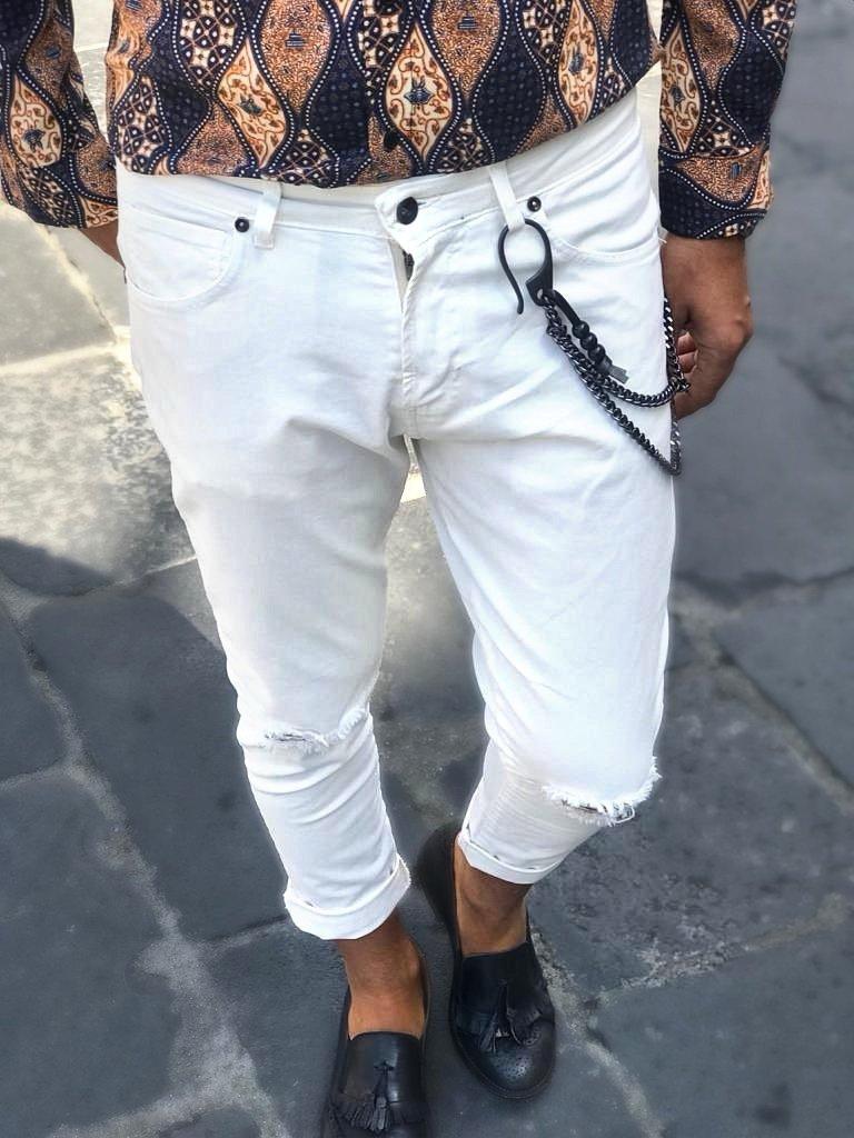 scarpe di separazione 59edc 0b178 Jeans uomo bianco strappato - Jeans con catena - Slim