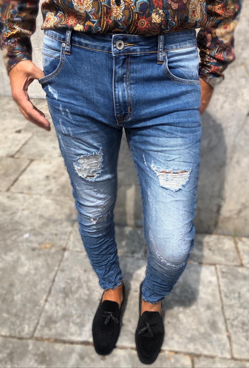 nuovi stili c2f87 29d50 Jeans uomo strappato - Slim fit - Alla caviglia