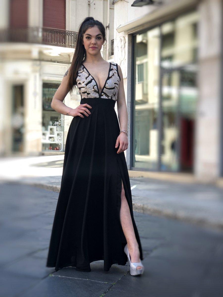 36006712e5b9 Vestiti donna online - Abito elegante - Abito Nero lungo -Gogolfun.it