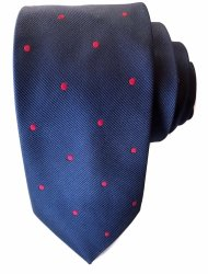 Cravatta uomo Pred - Cravatte eleganti - Cravatte uomo blu a pois rossi