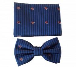 Papillon uomo blu con barchette - Farfallino con pochette - Papillon fantasia - Papillon Barchè