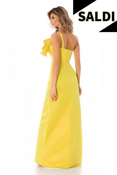Vestito giallo - Elegante - Con spacco - Monospalla - Vestiti da cerimonia - Gogolfun.it