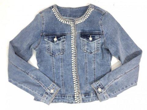 Giubbino di jeans donna - Giubbotto jeans con perline - Negozio di abbigliamento reggio calabria gogolfun.it
