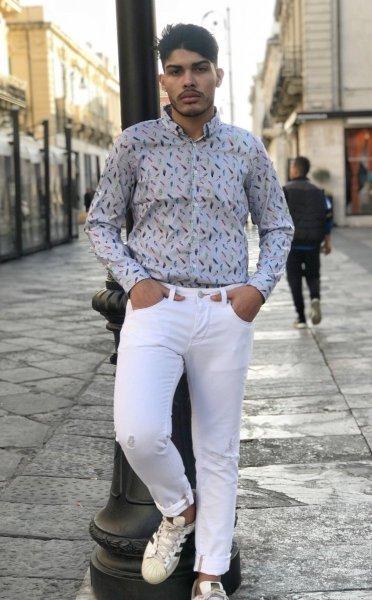 Camicia uomo slim fit - Camicia bianca a fantasia