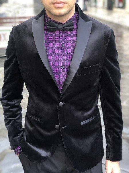 Giacca uomo - Giacca in velluto - Nera - Abbigliamento uomo Gogolfun.it