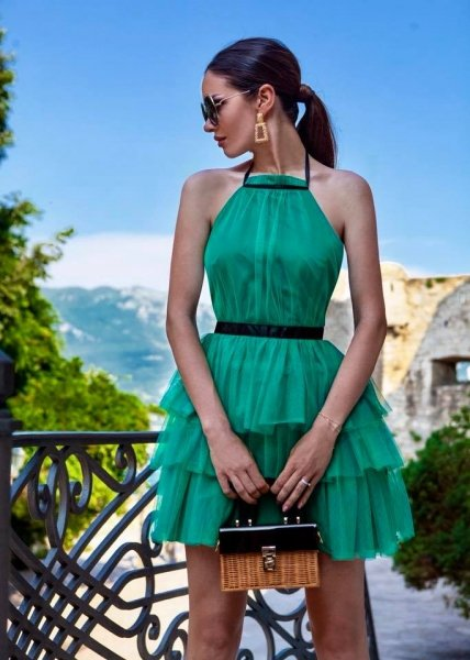 Vestito corto elegante verde - In tulle - Vestito elegante gogolfun.it