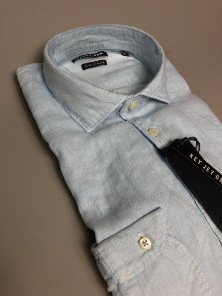 Camicia di lino, celeste  - Maniche lunghe - Key Jey  - Camicie di lino - Gogolfun.it
