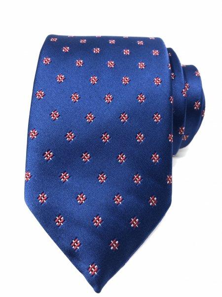 Cravatta uomo - Blu - Fantasia Rossa - Con pochette