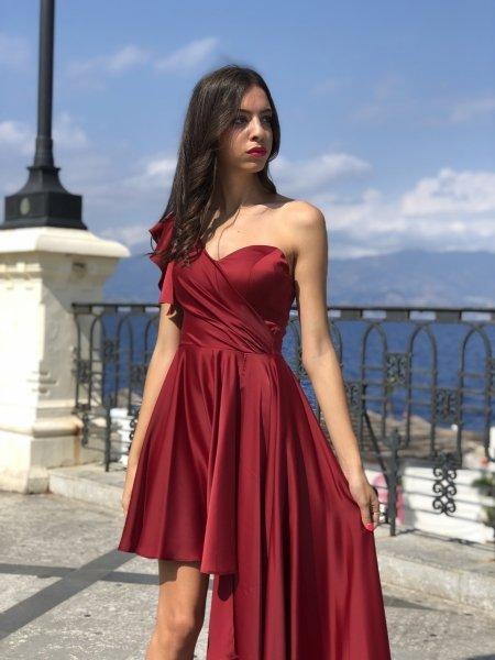 Abito da sera - Rosso - Babe - In raso sfasato - Collezione abiti da cerimonia