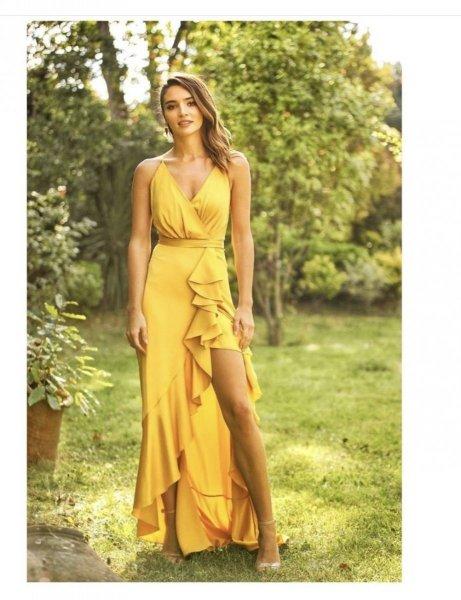 Vestito lungo giallo - Abiti cerimonia donna - Gogolfun.it