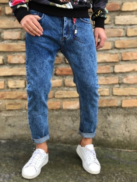 Jeans uomo, cropped - Jeans, lavaggio particolare - Gogolfun.it