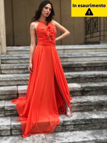 Vestito da cerimonia - Arancione - Con spacco - Vestiti arancioni - Gogolfun.it