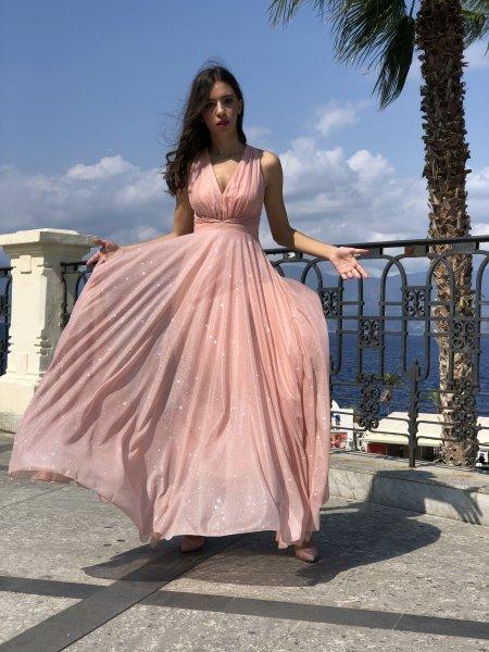 Vestito rosa cipria - Vestito brillantinato - Vestito lungo rosa - Gogolfun.it