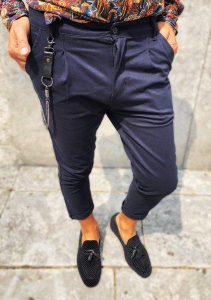 Pantaloni uomo alla caviglia - Pantaloni blu - Pantaloni eleganti - Gogolfun.it