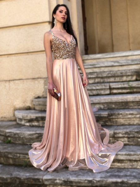 Abito lungo Elegante, rosa - Corpetto decorato - Vestiti da cerimonia - Gogolfun.it