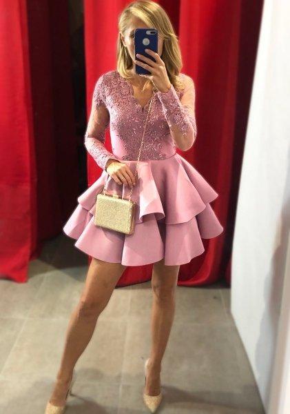 Vestito elegante corto, rosa - Abiti donna, con manichetta - Abiti da cerimonia gogolfun.it