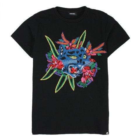 T-shirt nera bambina - Diesel - Abbigliamento bambini - Gogolfun.it