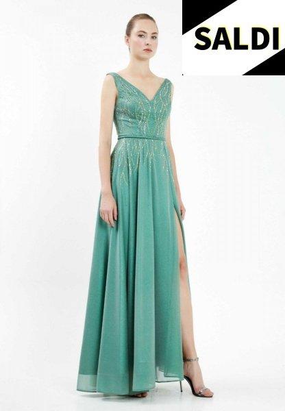 Vestito elegante - Lungo - Con spacco - Verde - Vestiti lunghi verdi - Gogolfun.it