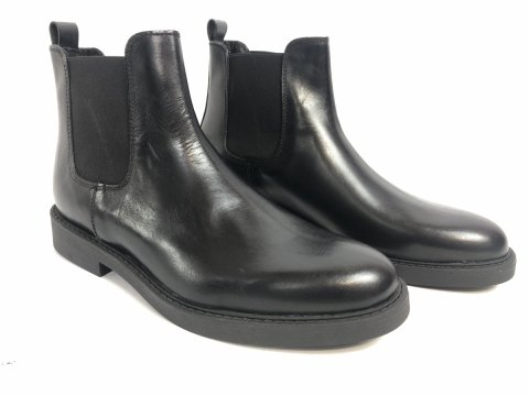 Sztyblety męskie, skórzane - czarne - Made in Italy - obuwie męskie - Gogolfun.pl