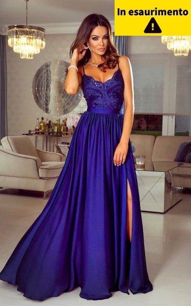 Vestito elegante - Blu cobalto - Con spacco - Vestiti lunghi blu - Gogolfun.it