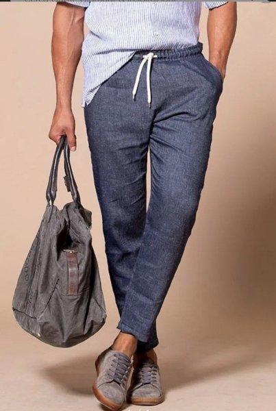 Paul Miranda - Pantaloni lino uomo - Blu - Abbigliamento uomo - Gogolfun.it