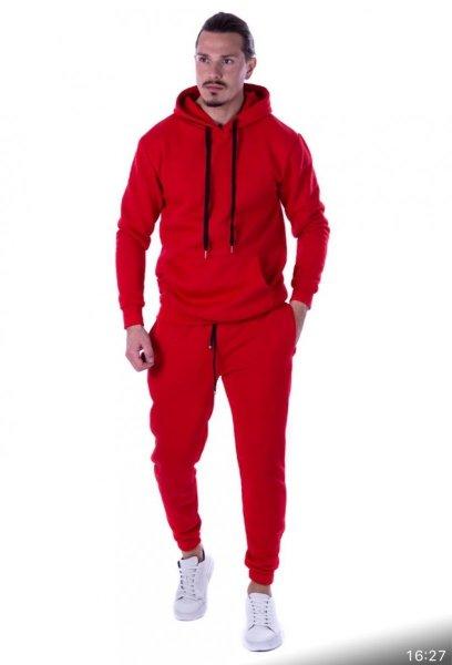 Tuta, uomo - Tuta, rossa con cappuccio