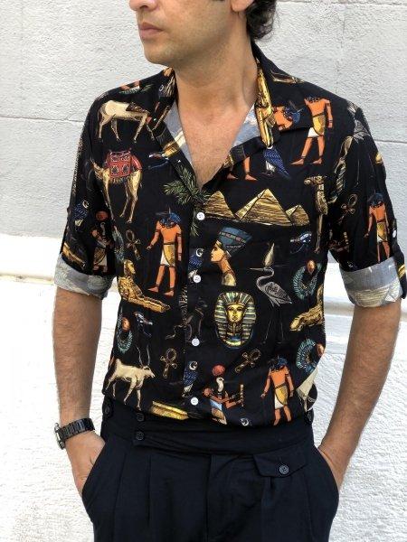 Camicia uomo particolare, nera - Fantasia Egitto
