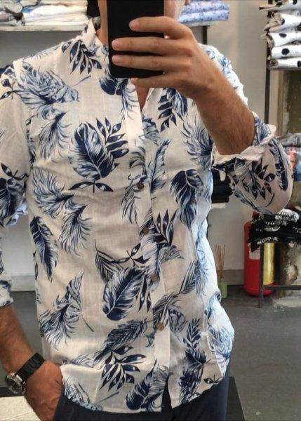 Camicie lino - Collo coreano, fantasia - Gogolfun.it