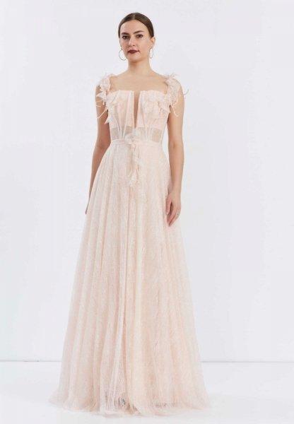 Vestito lungo elegante, rosa - Corpetto decorato - Diciottesimo - Vestiti da cerimonia - Gogolfun.it