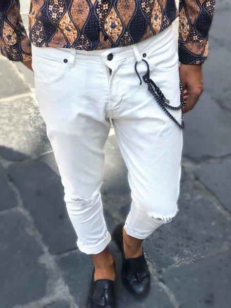 Jeans bianchi strappati - Jeans uomo - Jeans uomo strappati - Gogolfun.it