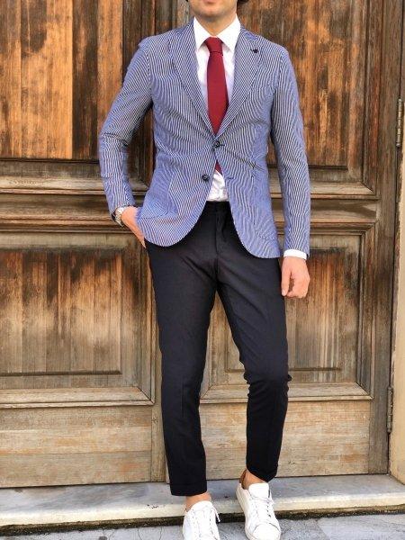 Paul Miranda - Giacca uomo blu, righe bianche