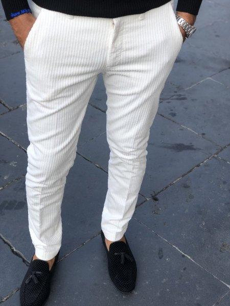 Paul Miranda - Pantaloni in velluto - Pantaloni velluto bianco - Gogolfun.it
