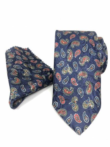 Cravatta con pochette - Blu con disegno cachemire - Gogolfun.it