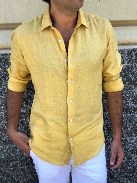 Camicia di lino - Gialla uomo - Gogolfun.it