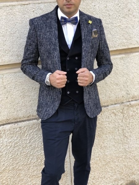 Blazer, striato blu - Abbigliamento uomo gogolfun.it