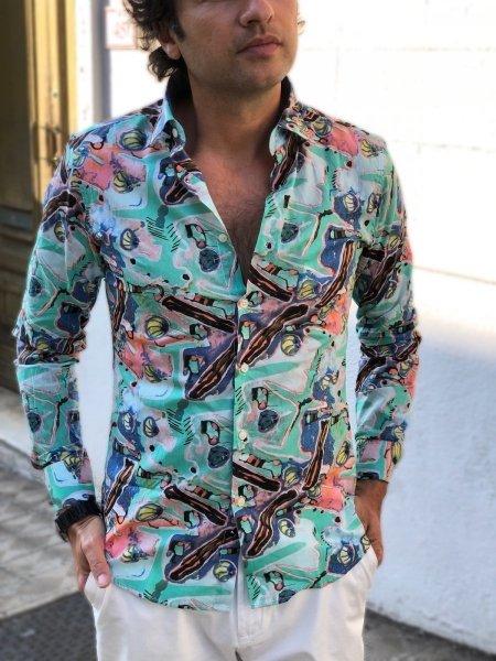 Camicia uomo particolare, verde acqua - Viscosa - Camicie uomo gogolfun.it