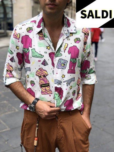 Camicia uomo particolare - Base bianca con disegni fluo - Camicie uomo - Gogolfun.it