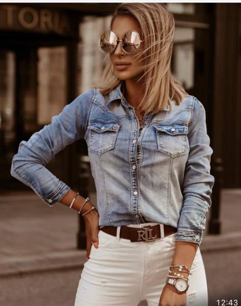 Camicia donna, jeans - Camicie donna - Camicia jeans - Camicie gogolfun.it