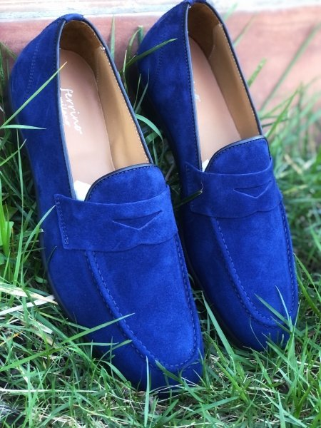 Mocassini blu, uomo - Pelle - Made in Italy - Scarpe uomo - Gogolfun.it