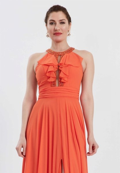 Vestito da cerimonia - Arancione - Con spacco