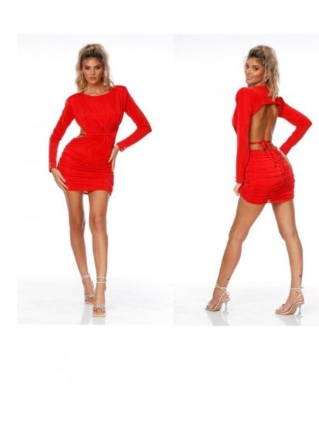 Vestito corto, rosso con schiena scoperta - Gogolfun.it