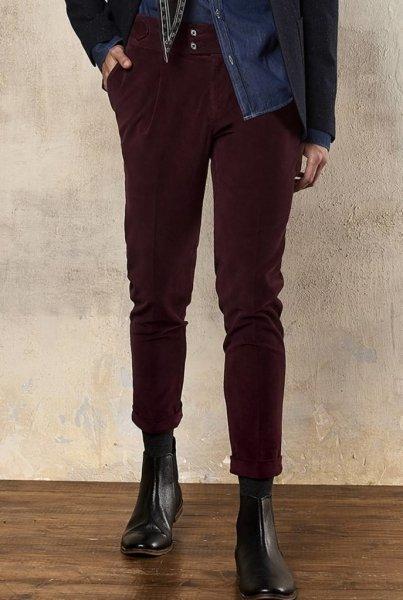 Spodnie męskie - Paul Miranda - Chinos - Slim - kolor bordowy - Made in Italy - Odzież męska - Gogolfun.pl
