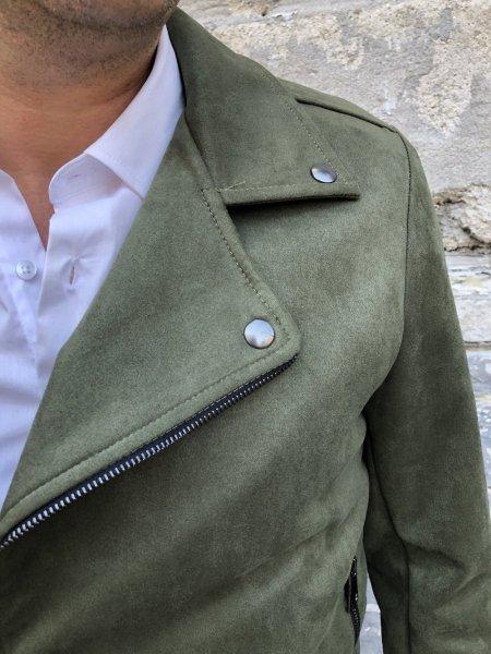 Chiodo uomo, ecopelle - Giubbotto uomo, Verde - Gogolfun.it