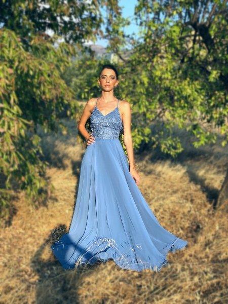 Vestito elegante azzurro, lungo - Abiti da cerimonia gogolfun.it