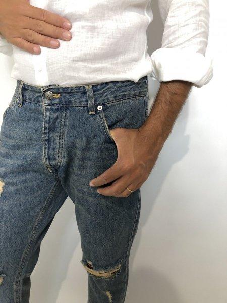 Jeans strappati uomo, capri - Lavaggio sabbiato - Gogolfun.it